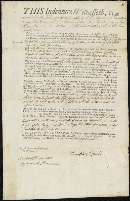 Document of indenture: Servant: Cole, Jacob. Master: Clark, Humphrey. Town of Master: Boston