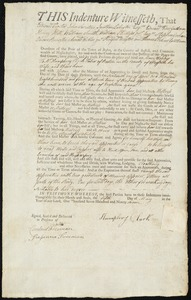 Document of indenture: Servant: Webber, Mary. Master: Clark, Humphrey. Town of Master: Boston