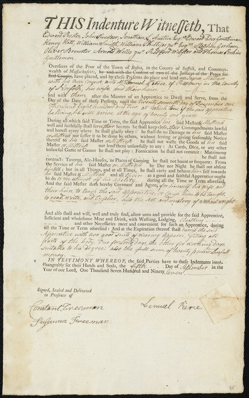 Document of indenture: Servant: Mathews, James. Master: Pierce, Lemuel. Town of Master: Roxbury. Selectmen of thetown of Roxbury autograph document signed to the [Overseers of the Poor of the town of Boston]: Endorsement Certificate for Lemuel Pierce.