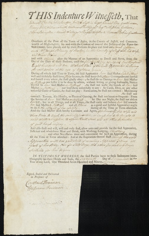 Document of indenture: Servant: Gordon, Sarah. Master: Blaney, Joseph. Town of Master: Boston