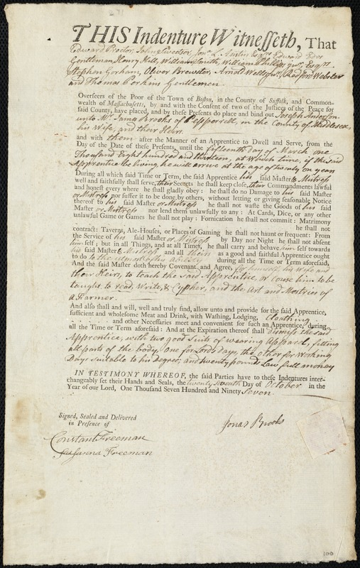 Document of indenture: Servant: Anderson, Joseph. Master: Brooks, James. Town of Master: Pepperell. Selectmen of the town of Peppernell autograph document signed to the Overseers of the Poor of the town of Boston: Endorsement Certificate for James Brooks.