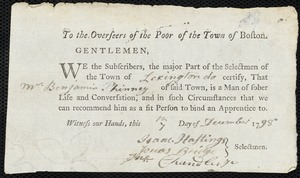 Document of indenture: Servant: Brown, Thomas Filley. Master: Phinney, Benjamin. Town of Master: Lexington. Selectmen of the town of Lexington autograph document signed to the Overseers of the Poor of the town of Boston: Endorsement Certificate for Benjamin Phinney.
