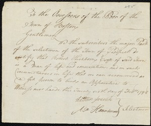 Document of indenture: Servant: Badger, Parmelia. Master: Hichborn, Robert. Town of Master: Prospect. Selectmen of the town of Prospect autograph document signed to the Overseers of the Poor of the town of Boston: Endorsement Certificate for Robert Hichborn.