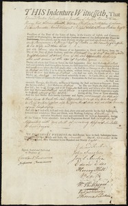 Document of indenture: Servant: Galley [Legalley], Sarah. Master: Austin, Benjamin Jr. Town of Master: Boston