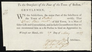 Document of indenture: Servant: Furr, Thomas. Master: Storer, Ebenezer. Town of Master: Portland. Selectmen of the town of Portland autograph document signed to the Overseers of the Poor of the town of Boston: Endorsement Certificate for Ebenezer Storer.