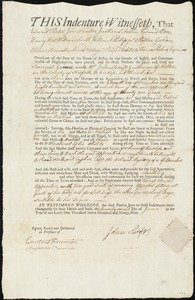 Document of indenture: Servant: Gaines, Samuel. Master: Swift, John. Town of Master: Milton