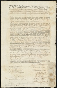 Document of indenture: Servant: Smith, Sophia. Master: Patton, William. Town of Master: Roxbury