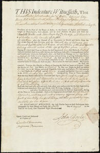 Document of indenture: Servant: Foalke, Charlotte. Master: Boyle, John. Town of Master: Boston