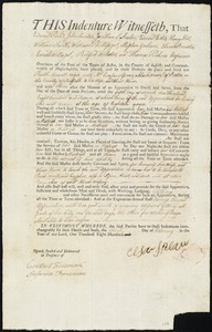 Document of indenture: Servant: Newell, Ruth. Master: Spear, Caesar [Ceasar]. Town of Master: Boston