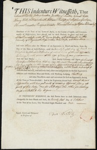 Document of indenture: Servant: Ramsdale, Silas. Master: Weston, Ezra. Town of Master: Duxborough