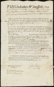 Document of indenture: Servant: Marmior, Jane. Master: Sale, John Jr. Town of Master: Chelsea