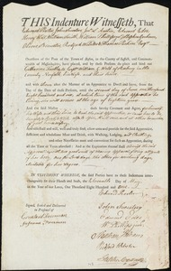 Document of indenture: Servant: Foalke, Catharine. Master: Weld, William G. Town of Master: Roxbury