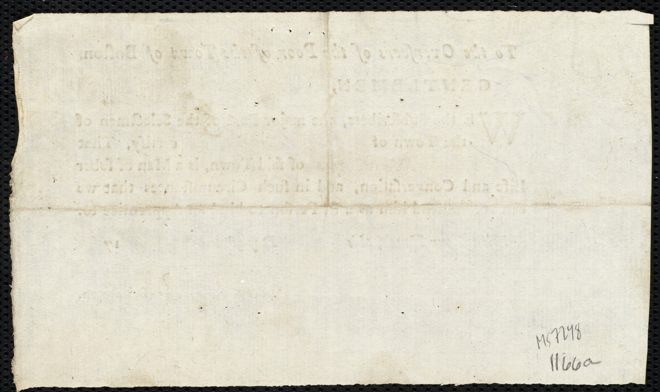 Document of indenture: Servant: Foalke, Catharine. Master: Weld, William G. Town of Master: Roxbury. Selectmen of the town of Roxbury autograph document signed to the Overseers of the Poor of the town of Boston: Endorsement Certificate for William G. Weld.