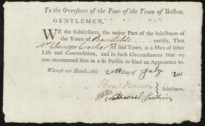 Document of indenture: Servant: Gardner, Andrew Jr. Master: Crocker, Ebenezer Jr. Town of Master: Barnstable. Selectmen of the town of Barnstable autograph document signed to the Overseers of the Poor of the town of Boston: Endorsement Certificate for Ebenezer Crocker, Jr.