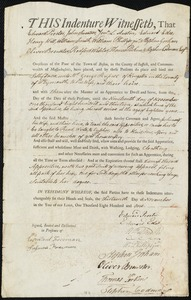Document of indenture: Servant: Davis, Sally. Master: Russell, George. Town of Master: Kingston