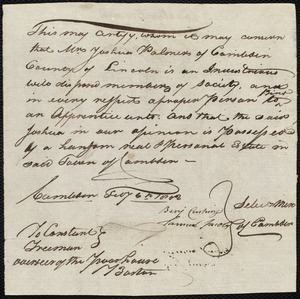 Document of indenture: Servant: Marmior, John. Master: Palmer, Joshua. Town of Master: Camden. Selectmen of the town of Camden autograph document signed to Whom It May Concern: Endorsement Certificate for Joshua Palmer.