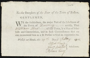 Document of indenture: Servant: Burdekin, Joseph. Master: Shaw, William. Town of Master: Quincy. Selectmen of the town of Qunicy autograph document signed to the Overseers of the Poor of the town of Boston: Endorsement Certificate for William Shaw.