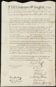 Document of indenture: Servant: Burdekin, Joseph. Master: Shaw, William. Town of Master: Quincy