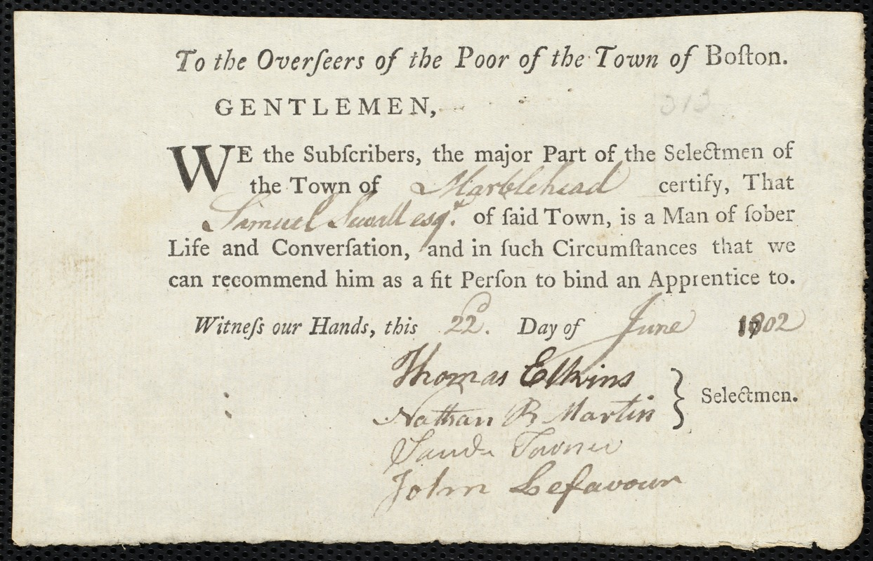 Document of indenture: Servant: Penny, Barnaby. Master: Sewall, Samuel. Town of Master: Marblehead. Selectmen of the town of Marblehead autograph document signed to the Overseers of the Poor of the town of Boston: Endorsement Certificate for Samuel Sewall.