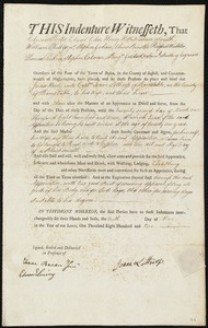 Document of indenture: Servant: Henly, James. Master: Lothrop, Isaac. Town of Master: Barnstable