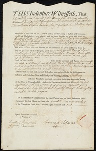 Document of indenture: Servant: Kelley, Bridget. Master: Adams, Samuel. Town of Master: Boston