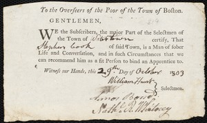 Document of indenture: Servant: Newell, Sally. Master: Cook, Stephen. Town of Master: Watertown. Selectmen of the town of Watertown autograph document signed to the Overseers of the Poor of the town of Boston: Endorsement Certificate for Stephen Cook.