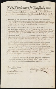 Document of indenture: Servant: Hollis, John. Master: White, William. Town of Master: Rutland