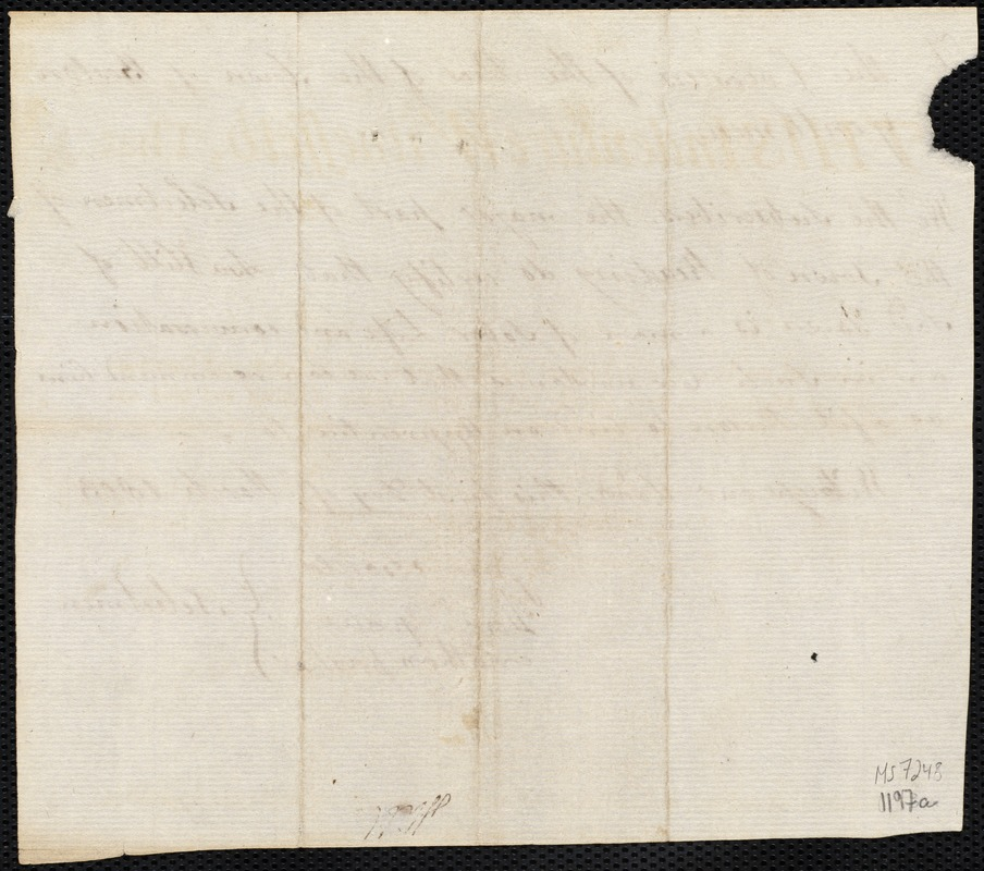 Document of indenture: Servant: Douglas, George. Master: Hill, Asa. Town of Master: Reading. Selectmen of the town of Reading autograph document signed to the Overseers of the Poor of the town of Boston: Endorsement Certificate for Asa Hill. Hill, Asa autograph letter signed to the Overseers of the Poor of the town of Boston describing reason for why he would like to make changes to terms of George Douglas' indenture.