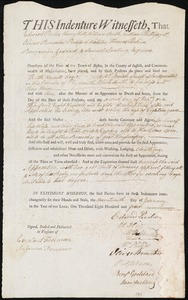 Document of indenture: Servant: Newell, Ruth. Master: Snell, Josiah. Town of Master: Bridgewater