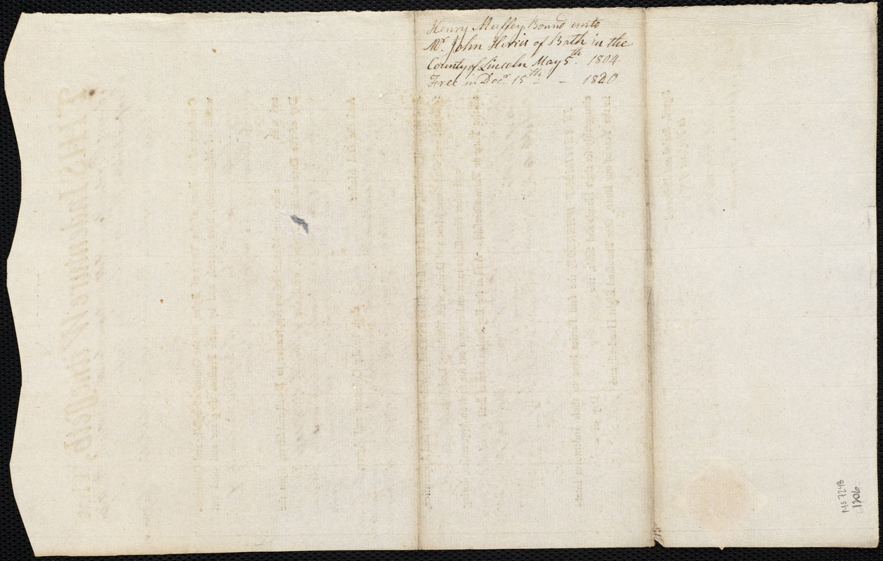 Document of indenture: Servant: Muffey, Henry. Master: Harris, John. Town of Master: Bath. Selectmen of the town of Bath autograph document signed to the Overseers of the Poor of the town of Boston: Endorsement Certificate for John Harris.