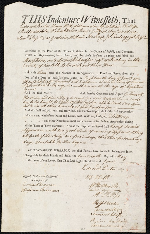 Document of indenture: Servant: Drew, Mary. Master: Richardson, Luther. Town of Master: Roxbury