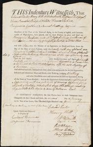 Document of indenture: Servant: Ambrose, Benjamin. Master: Billings, Moses. Town of Master: Dorchester