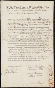 Document of indenture: Servant: Lawrence [Lawrance], John. Master: Nickerson, Phineas. Town of Master: Provincetown
