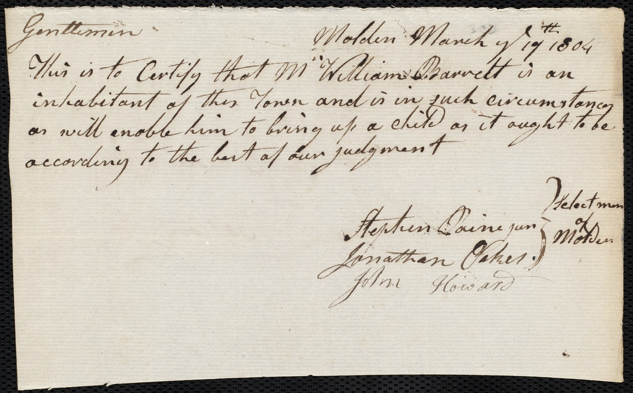 Document of indenture: Servant: Curtis, Charlotte. Master: Barrett, William. Town of Master: Malden. Selectmen of the town of Malden autograph document signed to the [Overseers of the Poor of the town of Boston]: Endorsement Certificate for William Barrett.