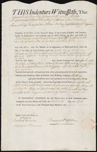 Document of indenture: Servant: Penrow, John. Master: Upton, Daniel Putnam. Town of Master: Eastport