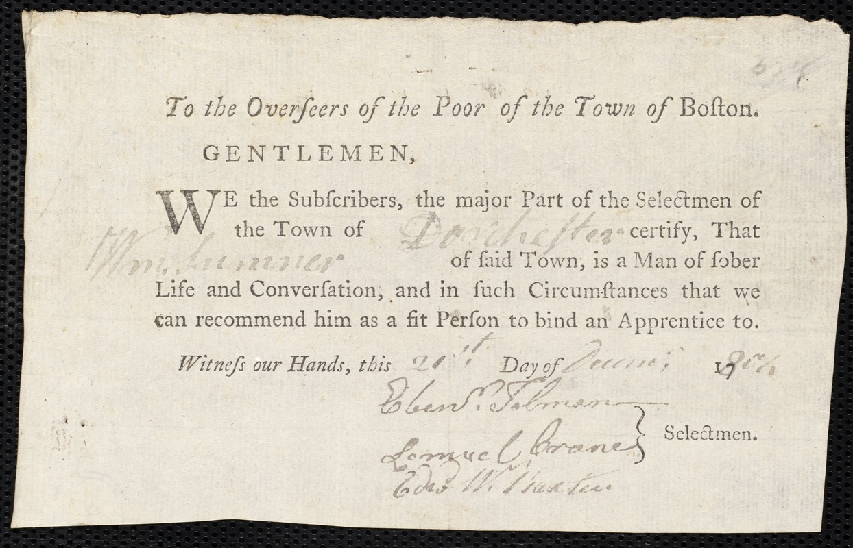 Document of indenture: Servant: Statch, John. Master: Sumner, William. Town of Master: Dorchester. Selectmen of the town of Dorchester autograph document signed to the Overseers of the Poor of the town of Boston: Endorsement Certificate for William Summer.