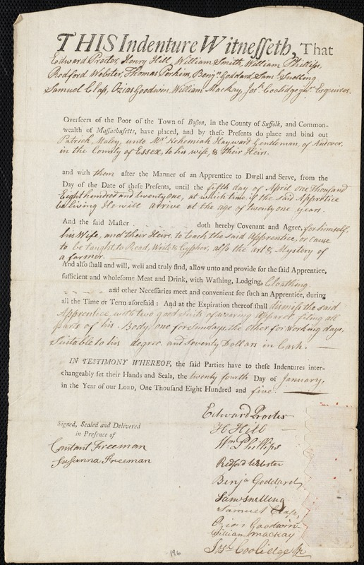 Document of indenture: Servant: Maley, Patrick. Master: Hayward, Nehemiah. Town of Master: Andover