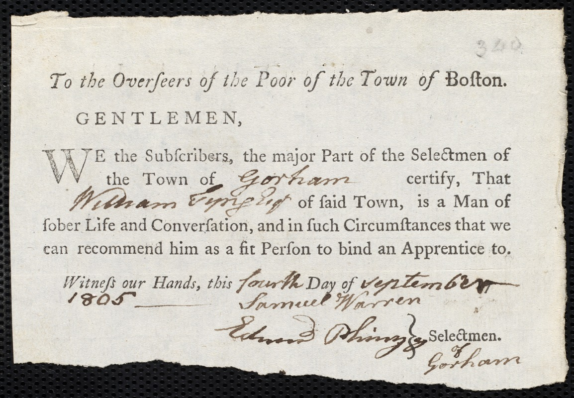 Document of indenture: Servant: Chew, Margaret. Master: Tyng, William. Town of Master: Gorham. Selectmen of the town of Gorham autograph document signed to the Overseers of the Poor of the town of Boston: Endorsement Certificate for William Tyng.