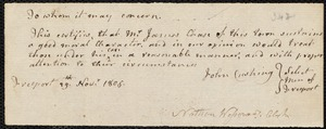 Document of indenture: Servant: Barrow, Jabez. Master: Chase, James. Town of Master: Freeport. Selectmen of the town of Freeport autograph document signed to the Overseers of the Poor of the town of Boston: Endorsement Certificate for James Chase.