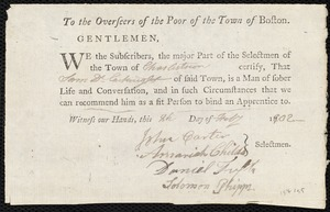 Overseers of the Poor of the Town of Boston. Endorsement Certificate for Sam Cartwright, Charlestown.