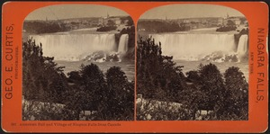 American Fall and village of Niagara Falls from Canada