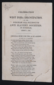 Celebration of West India emancipation by the Hingham and Weymouth anti-slavery societies, Hingham, August 1, 1842