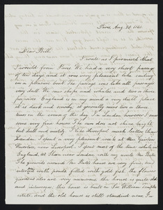 Letter from Henry Grafton Chapman, Paris, to William C.B. Fifield, Aug. 30, 1848