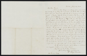 Letter from William Lloyd Garrison, Boston, to Rev. Francis Bishop, July 20, 1852
