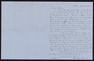 Letter from William Lloyd Garrison, Boston, to J. B. Estlin, Esq., July 21, 1852