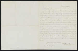 Letter from William Lloyd Garrison, Boston, to H. C. Fifield, May 9, 1855