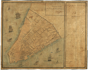 This plan of the City of New York (within the palisades which were erected in the year 1743) was made for the purpose of shewing the progress and extent of the great fire which happened in the year 1776, the number of houses that was consumed, and also the fire of 1778