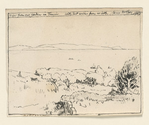 View from our garden in Tangier. With best wishes from both. James McBey 1947