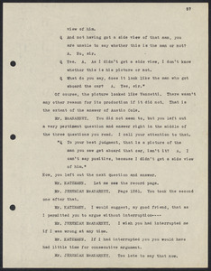 Herbert Brutus Ehrmann Papers, 1906-1970. Sacco-Vanzetti. Frederick G. Katzman: Argument on motion of new trial, November 5, 1921. Box 12, Folder 24, Harvard Law School Library, Historical & Special Collections