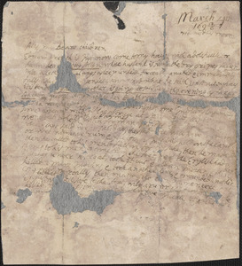 Letter from John Cotton, Plymouth, to Rowland Cotton, Sandwich, 1695/1696 March 4